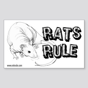 Rats Rule Hairless Rectangle Sticker