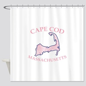 Preppy Pink Cape Cod Massachusetts Shower Curtain