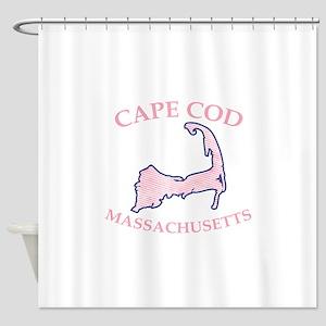Preppy Pink Cape Cod Massachusetts Shower Curtain