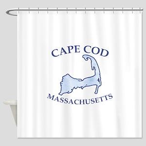 Preppy Vintage Blue Cape Cod Shower Curtain
