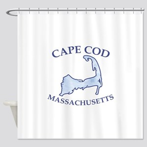 Preppy Vintage Blue Cape Cod Shower Curtain