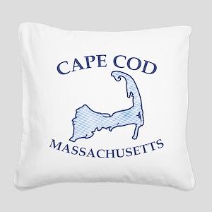 Preppy Vintage Blue Cape Cod Square Canvas Pillow