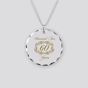 60th Wedding Anniversary Necklace Circle Charm