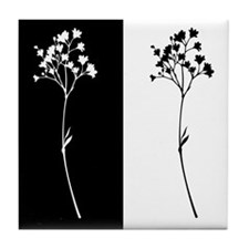 Black/white Bloom Print Tile Coaster