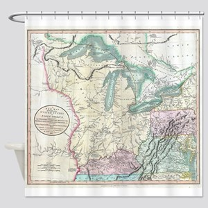 Vintage Map of The Great Lakes & Mi Shower Curtain