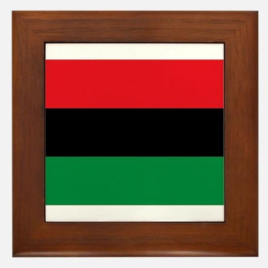 African American Flag - Red Black and Framed Tile