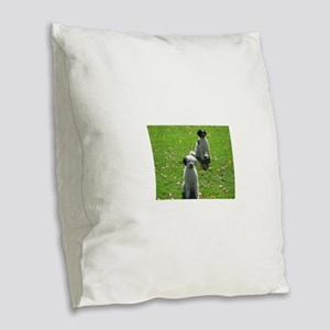 2 portuguese water dogs Burlap Throw Pillow