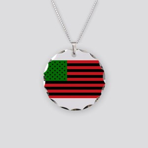 African American Flag - Red Necklace Circle Charm