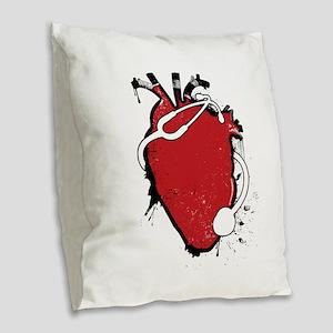 anatomical stethoscope Burlap Throw Pillow