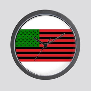 African American Flag - Red Black and G Wall Clock