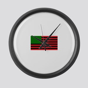 African American Flag - Red Black Large Wall Clock