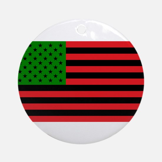 African American Flag - Red Black a Round Ornament
