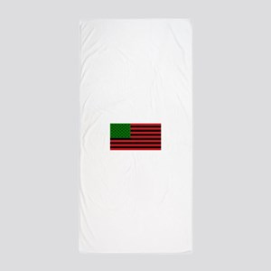 African American Flag - Red Black and Beach Towel