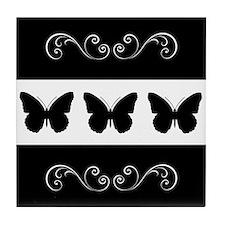Black/white Butterflies With Flourish Tile Coaster