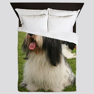 polish lowland sheepdog sitting Queen Duvet