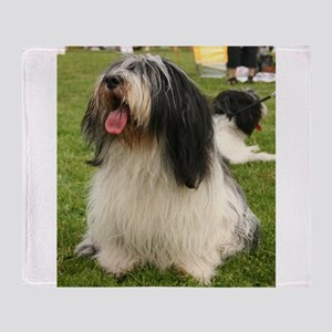 polish lowland sheepdog sitting Throw Blanket
