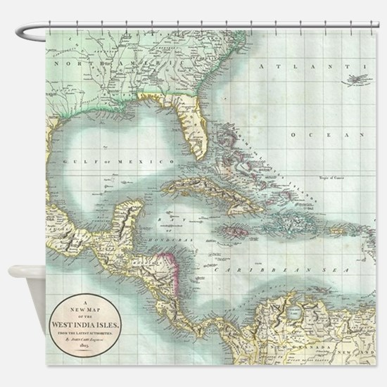 Vintage Map of The Caribbean (1803) Shower Curtain