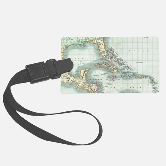 Vintage Map of The Caribbean (18 Luggage Tag