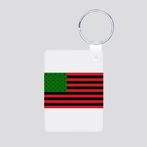 African American Flag - Red Black and Gr Keychains