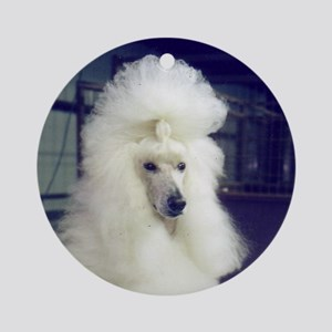 poodle white Round Ornament