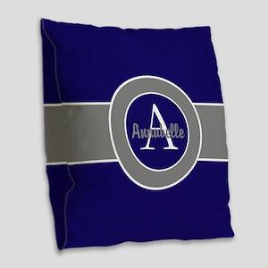 Dark Navy Blue Gray Monogram Burlap Throw Pillow