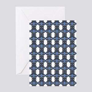 Blue Geo Lace Greeting Card