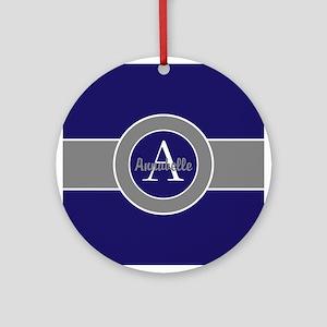 Dark Navy Blue Gray Monogram Personalized Round Or