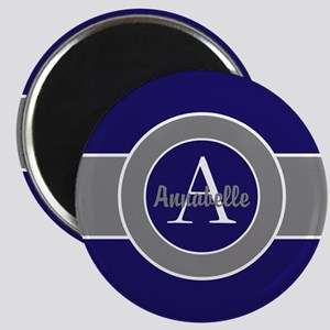Dark Navy Blue Gray Monogram Personalized Magnets