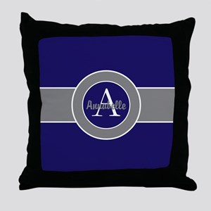 Dark Navy Blue Gray Monogram Personalized Throw Pi