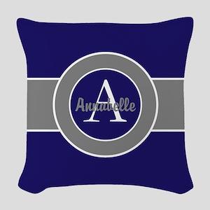 Dark Navy Blue Gray Monogram Personalized Woven Th