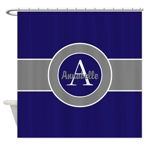 Grey And Navy Blue Shower Curtains