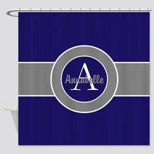 Dark Navy Blue Gray Monogram Personalized Shower C
