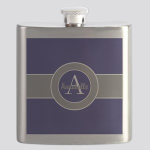 Dark Navy Blue Gray Monogram Personalized Flask