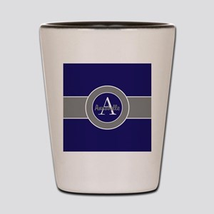 Dark Navy Blue Gray Monogram Personalized Shot Gla