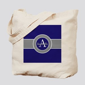 Dark Navy Blue Gray Monogram Personalized Tote Bag