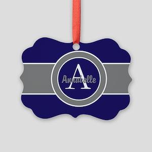 Dark Navy Blue Gray Monogram Personalized Ornament