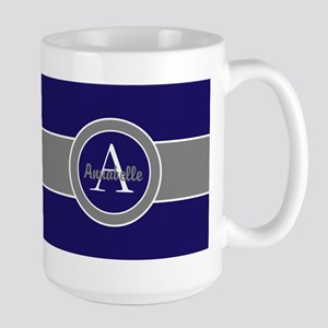Dark Navy Blue Gray Monogram Personalized Mugs