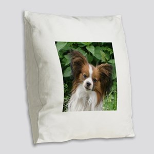 papillon Burlap Throw Pillow
