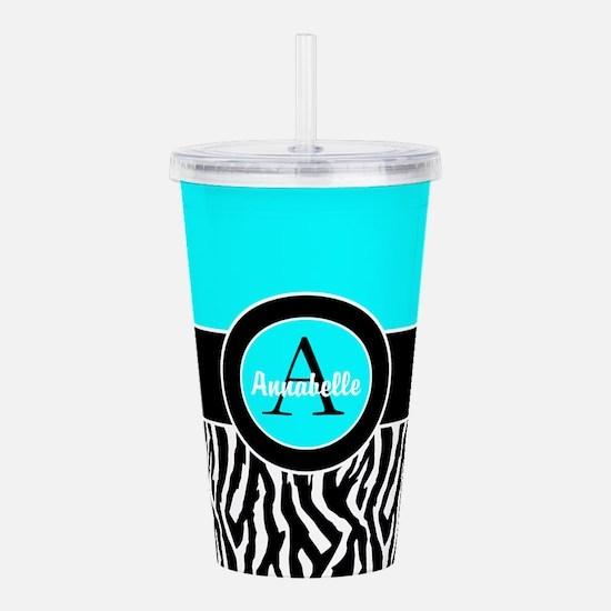 Turquoise Zebra Monogram Personalized Acrylic Doub