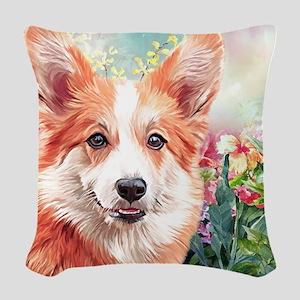 Corgi Painting Woven Throw Pillow