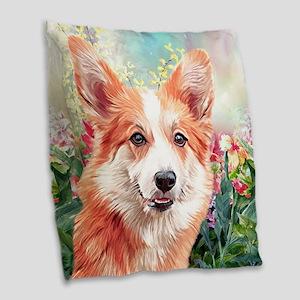 Corgi Painting Burlap Throw Pillow