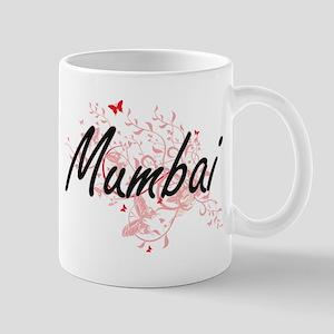 Mumbai India City Artistic design with butter Mugs