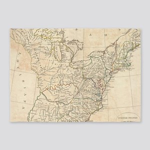Vintage Map of Early America (1799) 5'x7'Area Rug