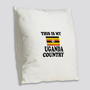 This Is My Uganda Country Burlap Throw Pillow