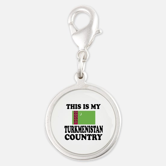 This Is My Turkmenistan Countr Silver Round Charm