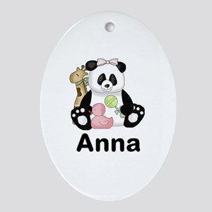 Anna's Panda Oval Ornament
