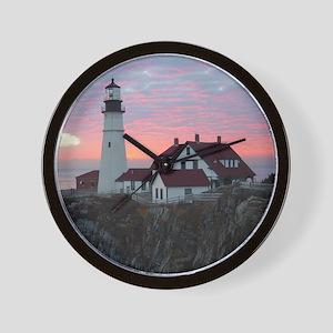 Portland Headlight Sunrise Wall Clock