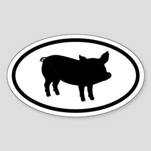 Pig Oval Sticker