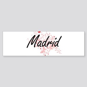 Madrid Spain City Artistic design w Bumper Sticker
