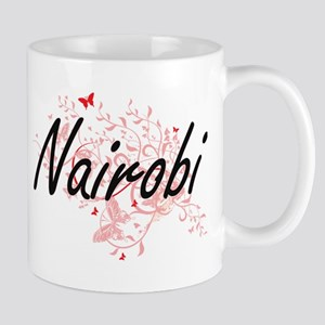 Nairobi Kenya City Artistic design with butte Mugs